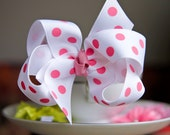 Pink and White Polka Dot  Easter Spring Summer Hair Bow Hair Clip