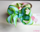 Blue and Green Hair Bow Hair Clips Kids Hair bow Toddler Hair bow Infant Hair Bow Kids Hair Clips
