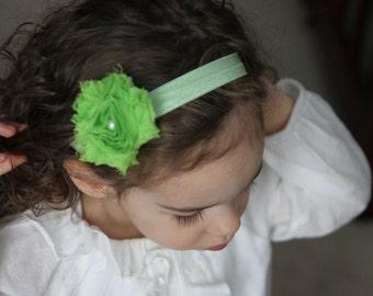Shaby Vintage Look Green Flower Headband