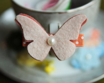 Toddler Hair Clip Baby Hair Clip Infant Hair Clip Kids Hair Clip Ivory Peach Orange Wool Felt Butterfly Hair Clip Hair Bow
