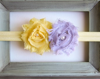 Newborn Headband Toddler Headband Infant Headband Yellow and Gray Shabby Flower Headband
