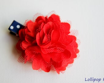 Patriotic Navy Red and White Satin Mesh Hair Clip Hair Bow