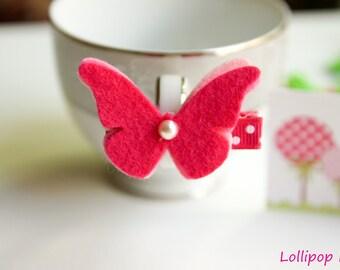 Dark Pink Wool Felt Butterfly Hair Clip Hair Bow