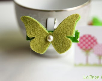 Baby Hair Clips Girls Hair Clips Toddler Hair Clips Butterfly Hair Clip Green Wool Felt Butterfly Hair Clip
