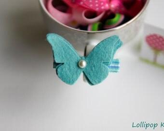 Girls Hair Clip Kids Hair Clips Baby Hair Clips Toddler Hair Clips Butterfly Hair Clips Infant Hair Clips Blue Wool Felt Butterfly Hair Clip