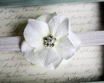 Baptism Headband Christening Headband Newborn Headband Baby Headband   Infant Headband Toddler Headband  White Headband Flower Headband