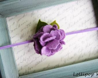 Headband Toddler Headband Baby Headband Girls Headband Newborn Headband Lavender Purple Wool Felt Flower Headband