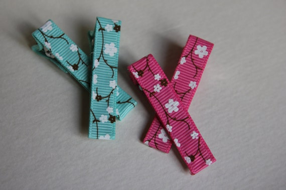 4 Piece Teal Blue and Pink Cherry Blossoms Hair Clips Set