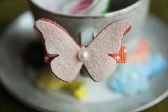 Toddler Hair Clip Baby Hair Clip Infant Hair Clip Kids Hair Clip Ivory Peach Orange Wool Felt Butterfly Hair Clip Hair Bow