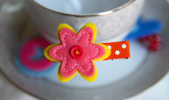 Toddler Hair Clip Baby Hair Clip Infant Hair Clip Kids Hair Clip Orange Yellow Summer Felt Flower Hair Clip Hair Bow