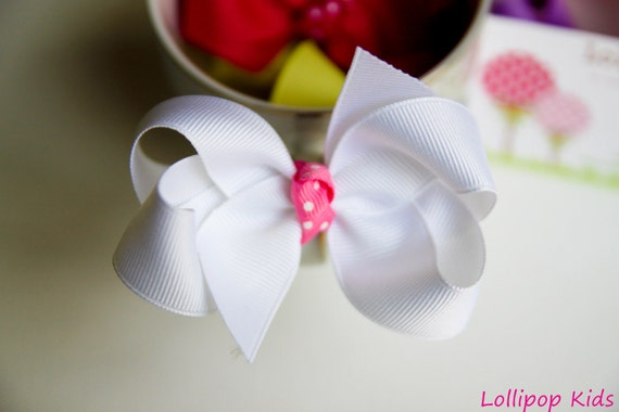 White Hair Bow White Hair Clips Hair Bow HairBow Hair Clip Kids Hair Bow Girls Hair Bow Toddler Hair Bow Baby Hair Bow