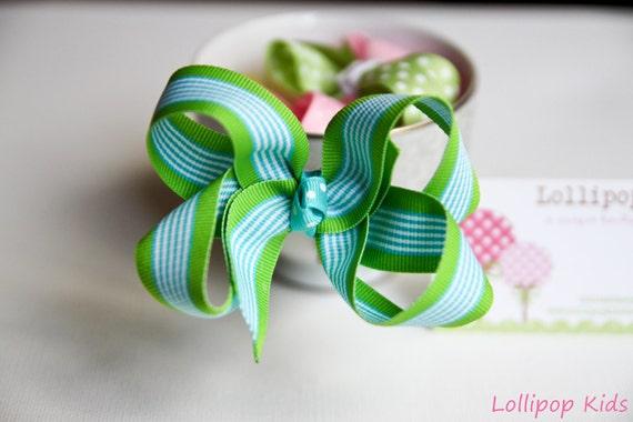 Blue and Green Hair Bow Hair Clips Kids Hair bow Toddler Hair bow Infant Hair Bow Kids Hair Clips