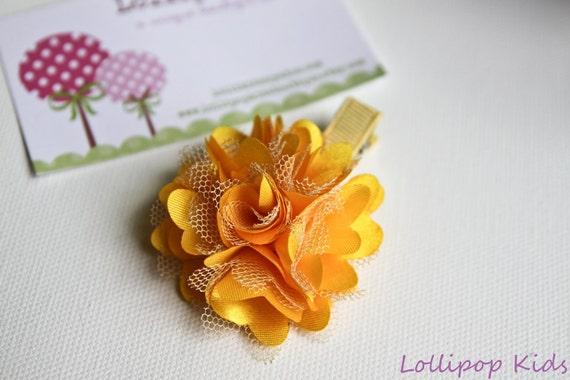 Yellow Gold Satin Mesh Hair Clip Hair Bow
