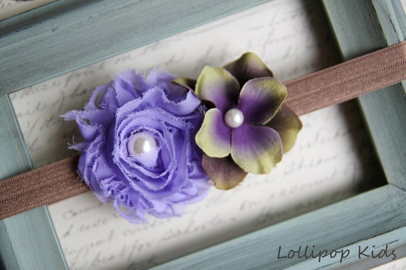 Shabby Chic Flower Headband Baby Headband Lavender Headband Toddler Headband Newborn Headband Lavender Flower Headband Photo Prop
