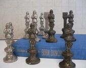 Vintage Metal Chess Figures