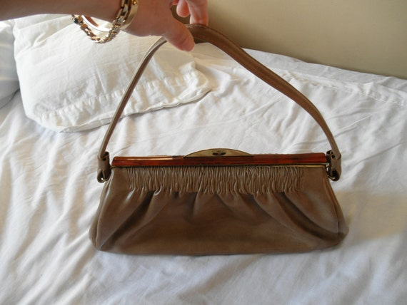 Vintage 1950s lucite trim handbag purse
