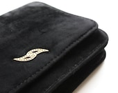 Reserved for Tess. Vintage Velvety Black Clutch Bag with De-tachable Strap