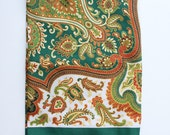 Reserved for Tess. Vintage Emerald Green Paisley Square Silky Scarf