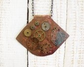 Patina Steampunk necklace with extra large steampunk pendant for steampunk lovers