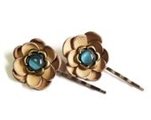 Leather flower bobby pin hair pin - set of 2 beige