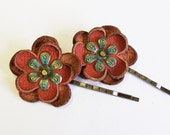 Leather flower bobby pin hair pin - set of 2 - agatechristina