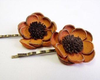 Orange and brown leather flower bobby pin hair pin - set of 2