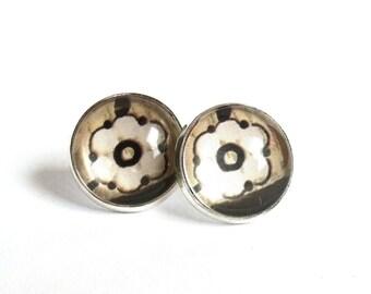 Floral stud earrings silver earring studs