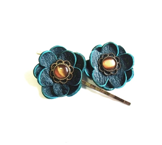 Leather flower bobby pin hair pin - set of 2 turquoise