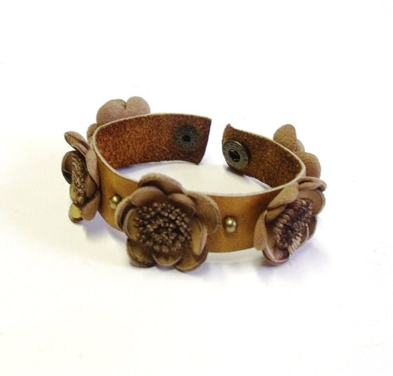 Leather flower bracelet with handmade leather flowers in camel color