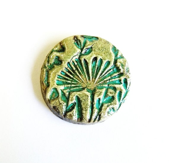 Handmade clay cabochon ceramic cabochon beige and turquoise  with floral motif