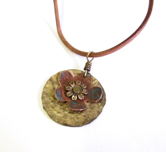 Patina necklace - copper floral pendant