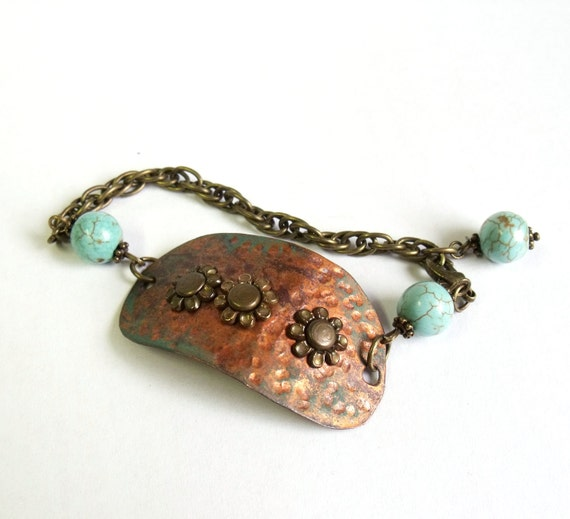 Patina copper bracelet with handmade hammered patina copper connector link and turquoise beads
