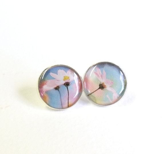 Silver plated romantic pink floral earrring studs Romantic Summer ear post