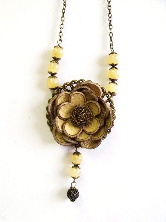 Butter yellow leather floral necklace with citrine gemstone beads