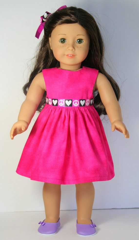 "Hot Pink Dress with Black and White Ribbon Dress/Hair Bow for 18"" American Girl Doll Clothes - Custom Handmade Couture"