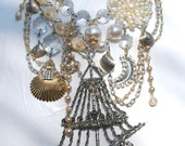 Vintage Pirates Ship Treasure Trove Bib Necklace