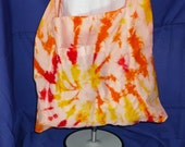 Traditional tie dyed cotton shoulder bag with pockets