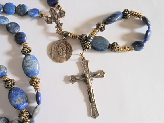 St. Joan D'Arc Lapis Lazuli Rosary