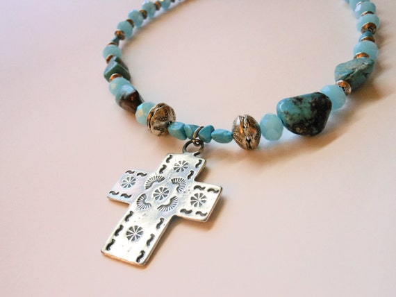 Southwest Style Cross Sky Blue Necklace