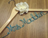 Personalized Custom Name Wedding Dress Hanger with Handmade Ivory Fabric Flower - Many wire colors available - Bridal Shower Gift