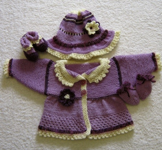 Lavender Wool Hand Knitted Baby Cardigan, Hat, Bootie & Mitt Set