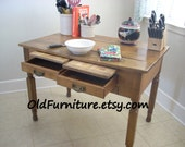 REDUCED - Prairie Farmhouse Kitchen Island Table with 2 drawers and 2 cutting boards, French Farm house plank work table.