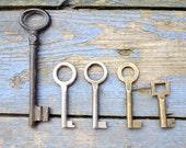 Vintage European Brass Skeleton Keys - Lot Of 5