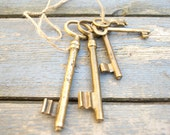 Antique European Brass Skeleton Keys - Lot Of 5