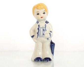 Vintage Porcelain Figurine Boy With Umbrella