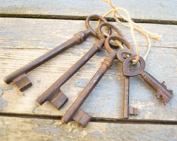 Antique European Iron Skeleton Keys - Lot Of 5