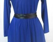 80's Royal Blue Blair Twirl Dress- ILGWU Union Made