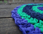 CUSTOM 1.5-Foot Crocheted Upcycled T-Shirt Rug