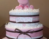 2 Tier Baby Girl Pink and Brown Diaper Cake