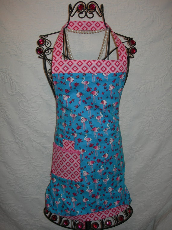 Lilly Pulitzer inspired Reversible Apron in Pink Flamingo on Turquoise with Pink geometrics. Perfect for that BBQ or Pool/Beach Party...